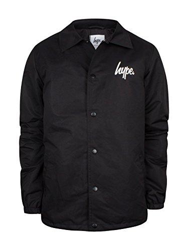 Hype Homme Script Logo Coach Jacket, Noir Noir