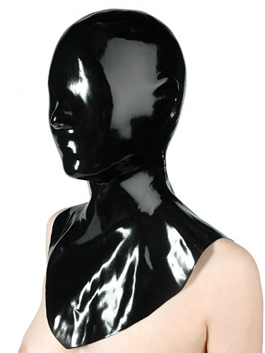 Fetisso - 1130 - geschlossene Latexmaske, Latex Maske - geschlossen Gummimaske Latexhaube Gesichtsmaske Vollmaske Latex Maske, Farbe:Schwarz;Größe:L