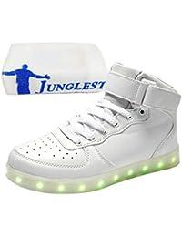 [Present:kleines Handtuch]Schwarz EU 44, USB Sport Sportschuhe Top 7 LED Herren Turnschuhe JUNGLEST® Unisex-Erwachsene für Sneaker weise High Leuchtend Dam