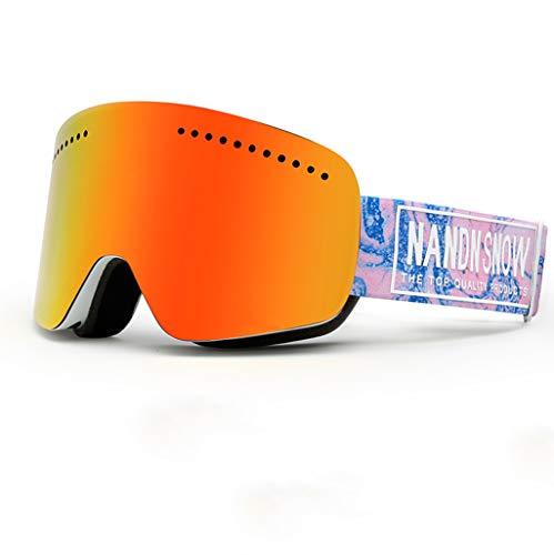 Skibrille Doppel Anti-Fog große Zylinder Einzel- und Doppel-Brett Erwachsene Ski Brille Männer und Frauen können Kurzsichtigkeit Sein (Farbe : D)