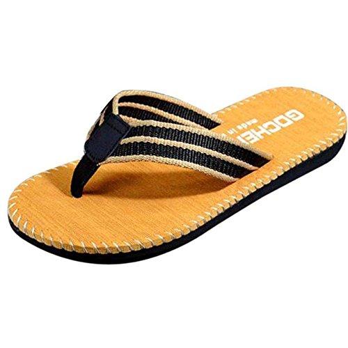 WOCACHI Herren Sommer Zehentrenner Männer Sommer Streifen Muster Flip Flops Schuhe Sandalen Männlich Slipper Flip-Flops Khaki