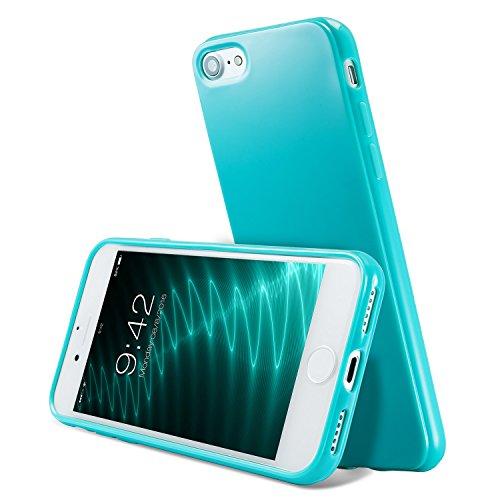 iPhone 8 Silikon Hülle ,iPhone 7 hülle, Apple iPhone 8 Silikon Abdeckung Stoß- Dünn Glanz Gel Stoßstange Flexibel und Weich Apple iPhone 7 &iPhone 8 4,7 TPU Hellblau Sea green