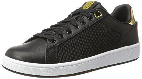 K-Swiss Damen CLEAN Court CMF Sneakers, Schwarz(Black/White/Gold 099), 39 EU (Tennis-schuhe Frauen Billig)