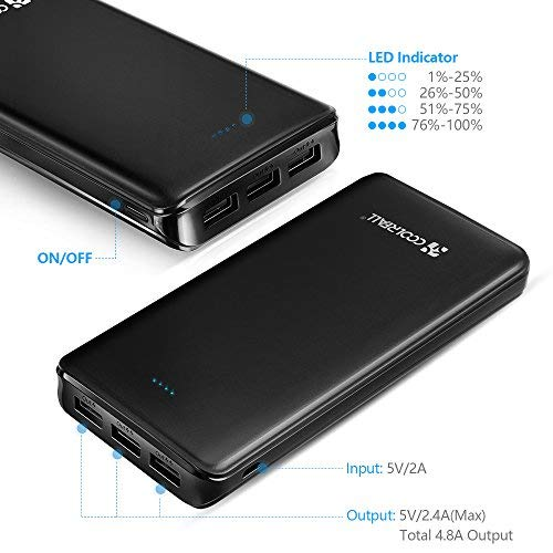 Powerbank 20000mAh, Coolreall 3 USB Port 4,8A Output Externer Akku Power Bank - 2