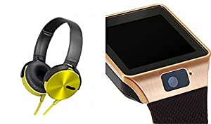 MIRZA Extra Extra Bass XB450 Headphones & DZ09 Bluetooth Smart Watch for LG x screen(XB 450 Headphones,With MIC,Extra Bass,Headset,Sports Headset,Wired Headset & Bluetooth DZ09 Smart Watch Wrist Watch Phone with Camera & SIM Card Support Hot Fashion New Arrival Best Selling Premium Quality Lowest Price with Apps like Facebook, Whatsapp, Twitter, Sports, Health, Compatible with Android iOS Mobile Tablet-Assorted Color)