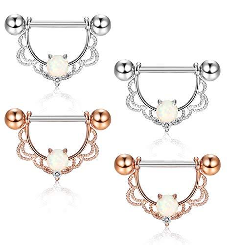 6L Edelstahl CZ Opal Nippel Piercing Barbell Bauchnabel Ring für Frauen ()