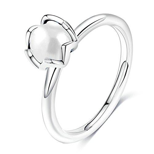 BeyDoDo Modeschmuck Platiniert Ring Frauen mit Perlen Hochzeitsringe Verlobung Ring Silber Ringgröße 54 (17.2) (Jack Und Jill Kostüme Bilder)