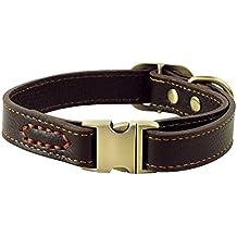 ZEEY Cuero auténtico collar de perro ajustable básico, cuello de 30 cm-43 cm y 2 cm de ancho, durable Fácil de usar la hebilla de cobre collar para perros pequeños / medianos con gancho correa del perro (Brown)