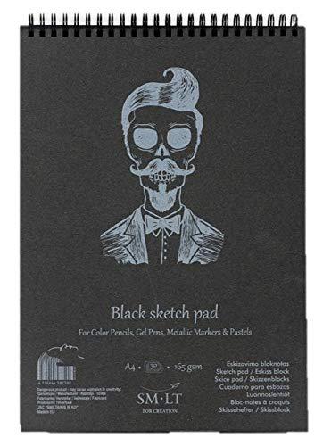 SM.LT Skizzenblock, A5-20 Blatt, 165 g/m², geeignet für Buntstifte, Gelstifte, Metallic-Marker, Pastellfarben