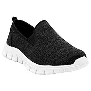 A&H Footwear Mens Gents Super Lightweight Slip On Twin Elastic Gusset Running Go Walk Fitness Gym Sports Trainers Pumps Shoes UK Sizes 7-12 (UK 7, Black)