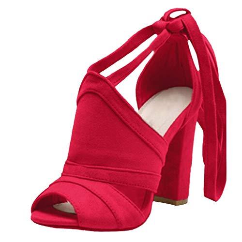 Frauen Riemchensandalen Block Chunky High Heel Damen Lace-up Knöchelriemen Plus Size Heels Wildleder Peep Toe Party Prom Solide Coulor Kleid Schuhe Stiefeletten Größe 4-8