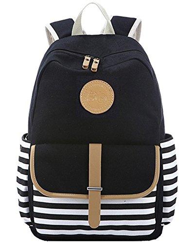 BLUBOON Mochila Escolar Mujer Lona vintage Backpack Canvas Casual + Bolsa de hombro / Messenger Bag + Monedero grande 3pcs (Negro) (Negro-01)
