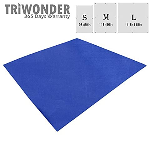 Triwonder Outdoor Waterproof Sunshade Camping Shelter Tent Tarp Footprint Groundsheet Beach Picnic Blanket Mat Rain Fly for Hammock (Dark Blue, L - 118 x 118in)