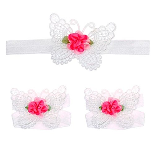 Fulltime® 1 Paire bébé fille conception de papillon Pied Band Cravates Barefoot Sandals + 1pc Hairband Blanc