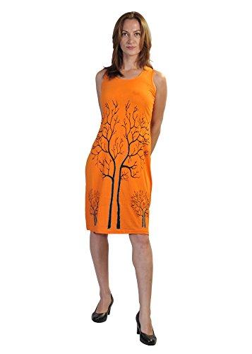 Damen ärmelloses Kleid mit Zweigen des Winters Baum Print-Design