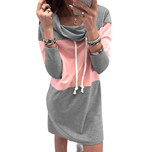 MIOIM Damen Pullover Sweatshirt Kleid Lang PUlli Langarm Minikleid Shirtkleid Herbst Winter Mode Streetwear Rosa S (Pullover Kleider Herbst)