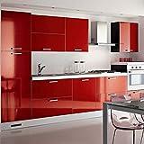 KINLO selbstklebende Folie Küche Rot 61x500cm aus hochwertigem PVC Küchenschränke Küchenfolie Klebefolie Tapeten Küche wasserfest Aufkleber für Schrank Möbelfolie Dekofolie MIT GLIETZER