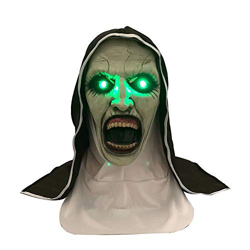 YXYXN Die Nonne Horror Maske, LED Cosplay Valak Scary Latex Masken Mit Kopftuch Veil Hood Full Face Helm KostüM Halloween Prop, Nonne Maske Mit Veil Scary Zombie - Nonne Kostüm Wie Hoch