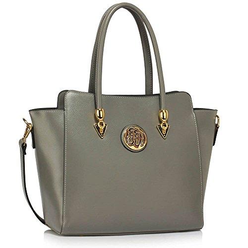 Damenhandtaschen Der Frauen Schulterbeutel Designer Neue Promi Stil Trage Groß (Lila Trage Bag1) A - Grau