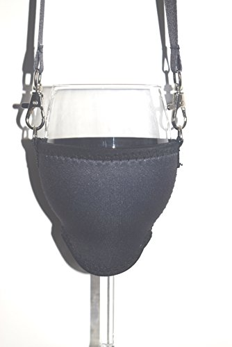 WineHolder - Weinglashalter für den Hals, Weinglashalterung inkl. Halstrageband, Glashalter, Weinhalter, (Lanyard) (Schwarz)