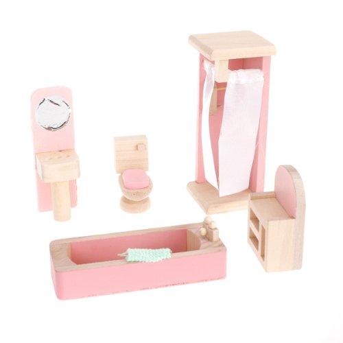 Puppenhaus-Badezimmer Set in rosa