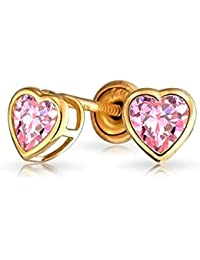 Bling Jewelry 14K Simulated Pink Topaz CZ Heart Baby Screw Back Studs