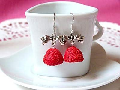 Boucles d'oreilles bonbon à la fraise bijoux gourmands fimo