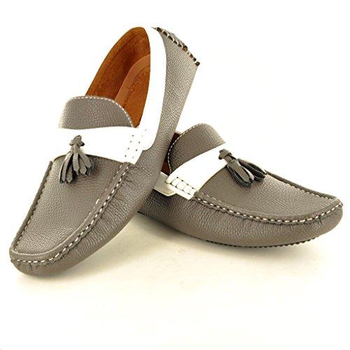 """New Herren Leder """"Look"""" Casual Loafer Mokassins Slip on Driving Schuhe mit Quaste 's Grau"""