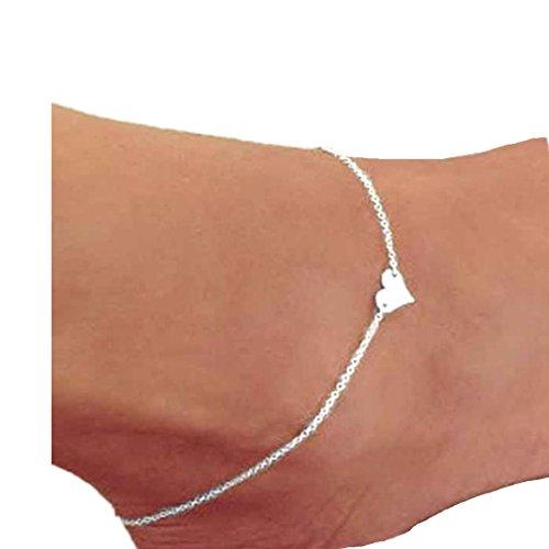 Women Anklet,Webla Heart Ankle Chian Barefoot Sandal Beach Foot Sparkly Jewelry (Silver)