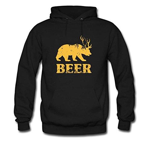 HGLee Printed Personalized Custom Bear Deer Beer Classic Women Hoodie Hooded Sweatshirt Black--1