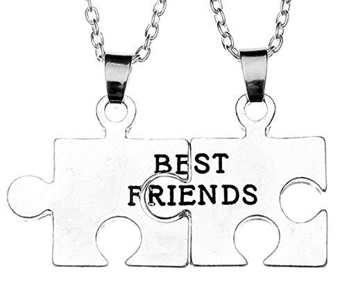 EVRYLON Zwei halsketten männer und Frauen Damenketten Herrenketten Bester Freund 2 Freundschaft Puzzle Best Friends BFF Rätsel x 2 Anhänger Paar Hälfte Joint Geteilt Silberne