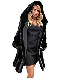Internert Abrigo de Streetwea con capucha sólida nueva mujer Abrigo de piel sintética caliente para mujer Chaqueta Parka de invierno Abrigos
