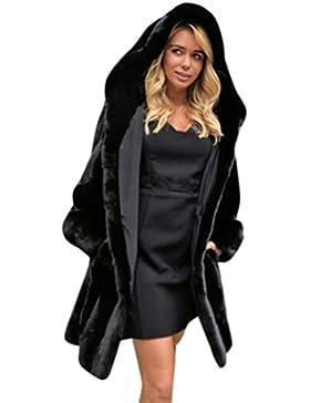 Internert Abrigo de Streetwea con capucha sólida nueva mujer Abrigo de piel sintética caliente para mujer Chaqueta...