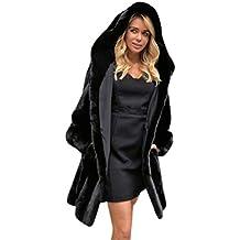 Internert Abrigo de Streetwea con Capucha sólida Mujer Abrigo de Piel sintética Caliente para Mujer Chaqueta