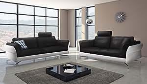 SAM ® canapé 3 places vivano 2 pièces noir blanc design couchgarnitur facile à nettoyer en option tête montage aluminiumfüße rembourrage livraison par transporteur