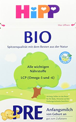 HiPP Milchnahrung Pre Bio, Anfangsmilch von Geburt an, 4er Pack (4 x 600 g)