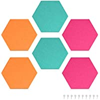 Navaris hexágonos de fieltro autoadhesivo - Set 6 paneles adhesivos 15x17x1.5CM de pared - Decoración de habitación en turquesa naranja y rosado
