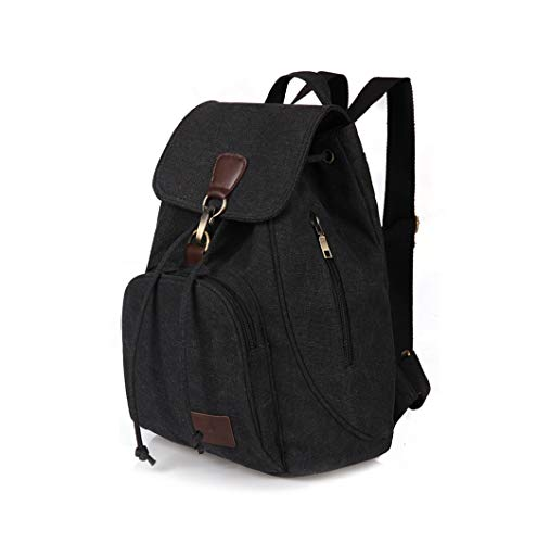 JQXB Frauen Canvas Rucksack Vintage Preppy Stil Schule Teenage Girl Student Laptop Outdoor Reise Rucksack Tasche,Black