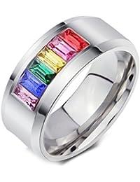 274c8c28038d UM Joyería Gay Lesbiana Homosexual Orgullo Acero inoxidable Arco iris  Anillos Plata Banda