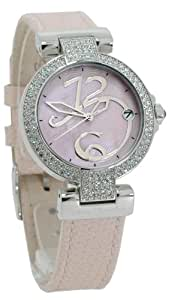 Betty Barclay Ladies Stone Set Pink Leather Strap Watch With Pink MOP Dial