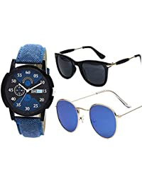 Sheomy Stylish American blue marqury full black frame sunglasses and watch combo for men latest round frame men - (II-EC9E-44RV|55|sunglasses men white glass) - Box Best Online Gifts