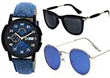 Sheomy Stylish American blue marqury full black frame sunglasses and watch combo
