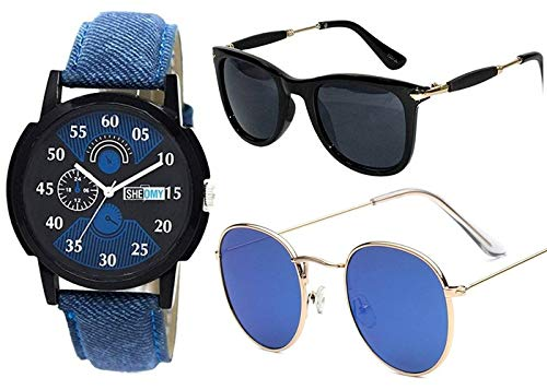 Sheomy Stylish American blue marqury full black frame sunglasses round frame men - (II-EC9E-44RV|55|sunglasses men white glass) - Box Best Online Gifts