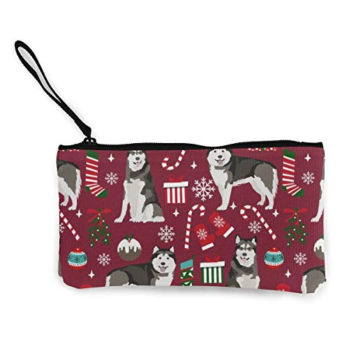 Alaskan Malamute Holiday Presents Multifunctional Portable Canvas Coin Purse Phone Pouch Cosmetic Bag,Zippered Wristlets Bag
