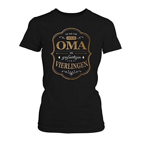 Fashionalarm Damen T-Shirt - Ich bin eine stolze Oma von großartigen Vierlingen | Fun Shirt mit Spruch als Geburtstag Geschenk Idee für Großmütter Schwarz