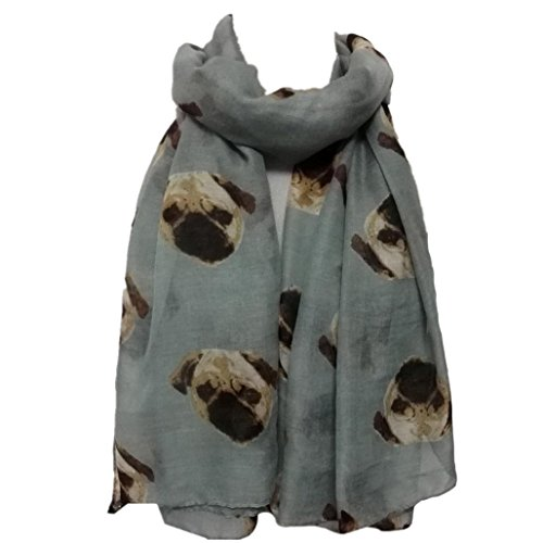 Tonwalk Women Dog Print Scarf Shawl Soft Scarves (Gray)