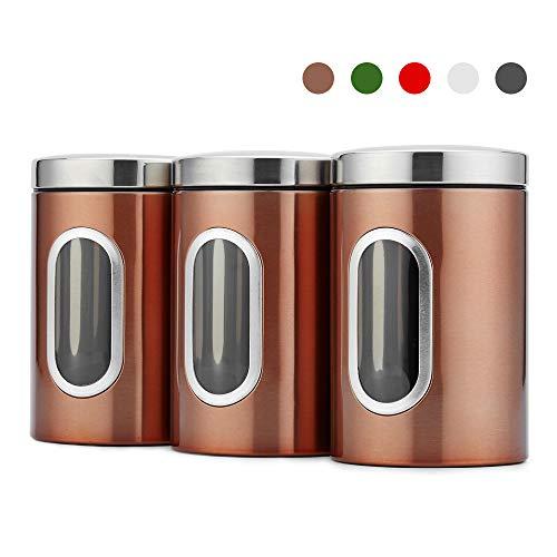 Blusea 3 Stück Vorratsdose Lebensmittel Aufbewahrungsbehälter Edelstahl Vorratsbehälter mit Deckel und Transparentem Sichtfenster für Tee, Getreide, Trockenfrüchten, Tiernahrung 1.5L (Brown)