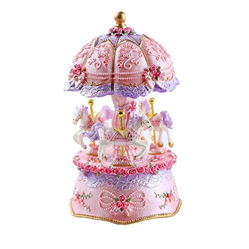 l Music Box LED Lumière Lumineuse Rotative 3-Horse Carousels Music Box Saint Valentin Anniversaire Cadeau De Noël Décor À La Maison ()