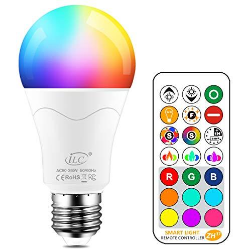 iLC LED Lampe ersetzt 85W, 1000 Lumen, RGB Glühbirne mit Fernbedienung Farbwechsel Farbige Birne warmweiß (2700 Kelvin), Edison E27 -