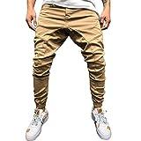 Pantaloni Casual Uomo Invernali Slim Fit Nuovi Pantaloni da Lavoro Multiuso Tinta Unita Allentati Colorati (XL,1Cachi)